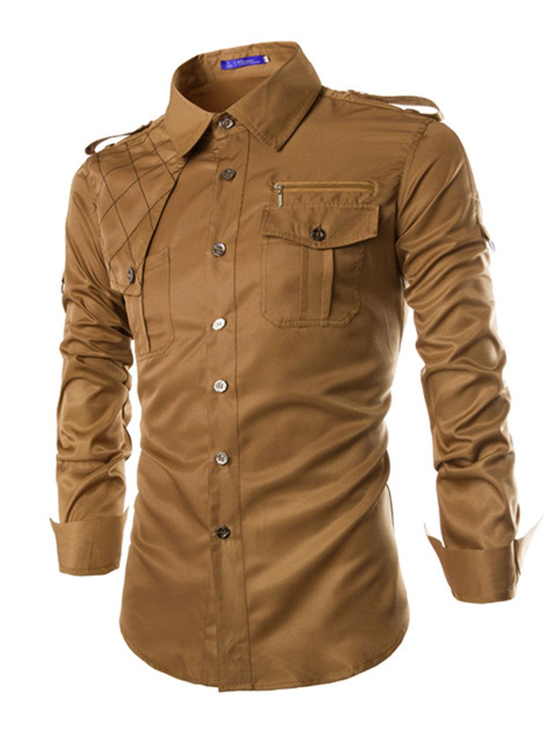 Men Long Sleeves Epaulets Round Hem Casual Shirts Camel M