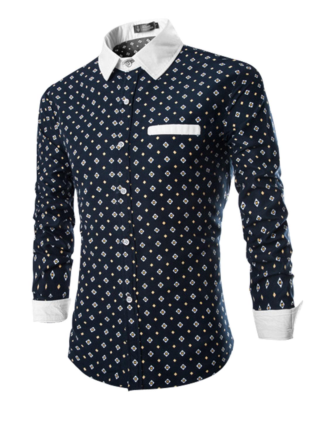 Men Point Collar Long Sleeves Geometric Printed Casual Shirts Navy Blue M
