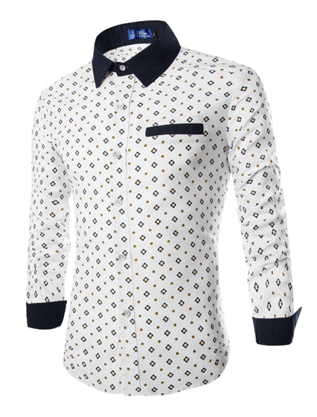 Man Long Sleeves Geometric Prints Round Hem Casual Shirts White M