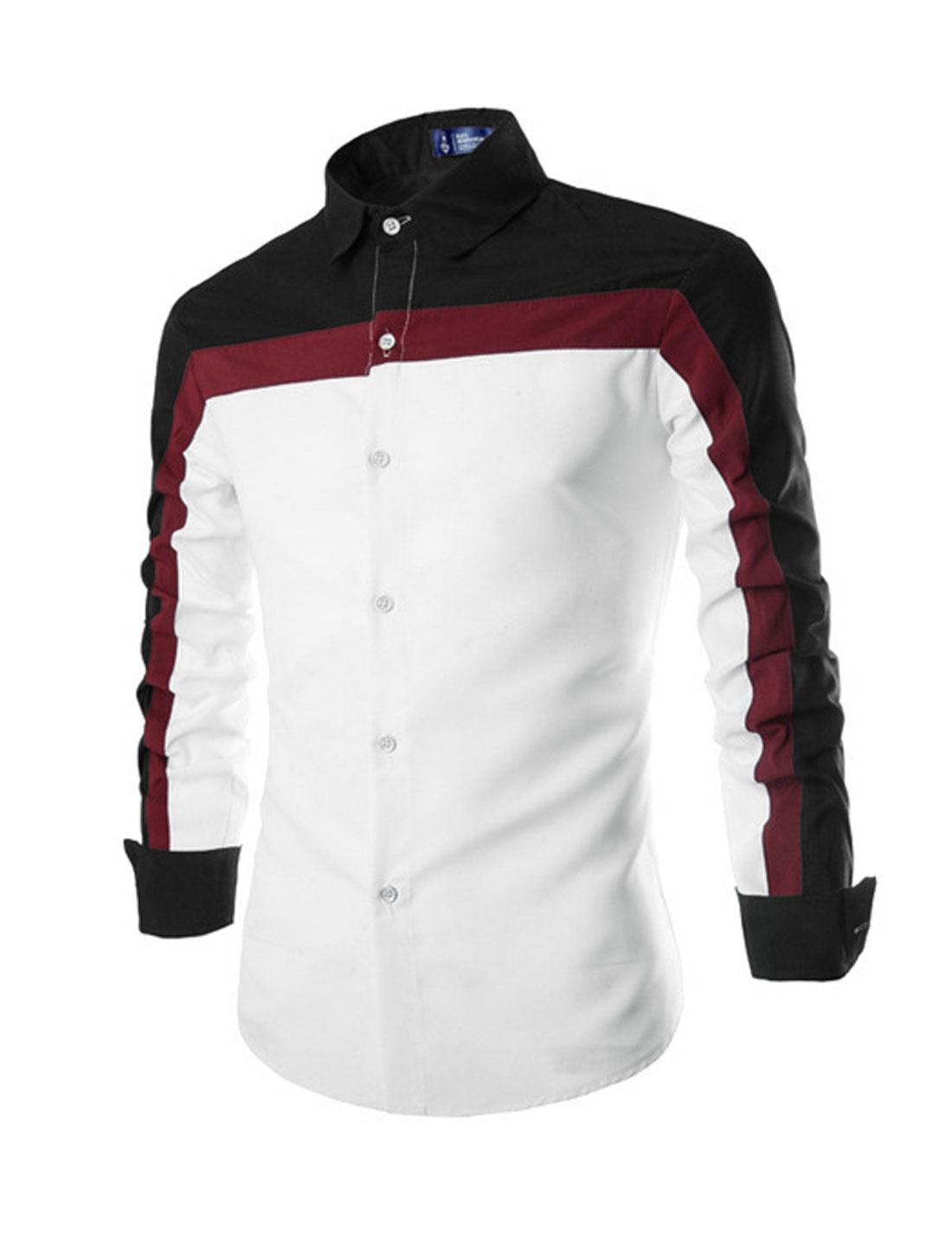 Men Point Collar Color Block Button Down Casual Shirt White Black M