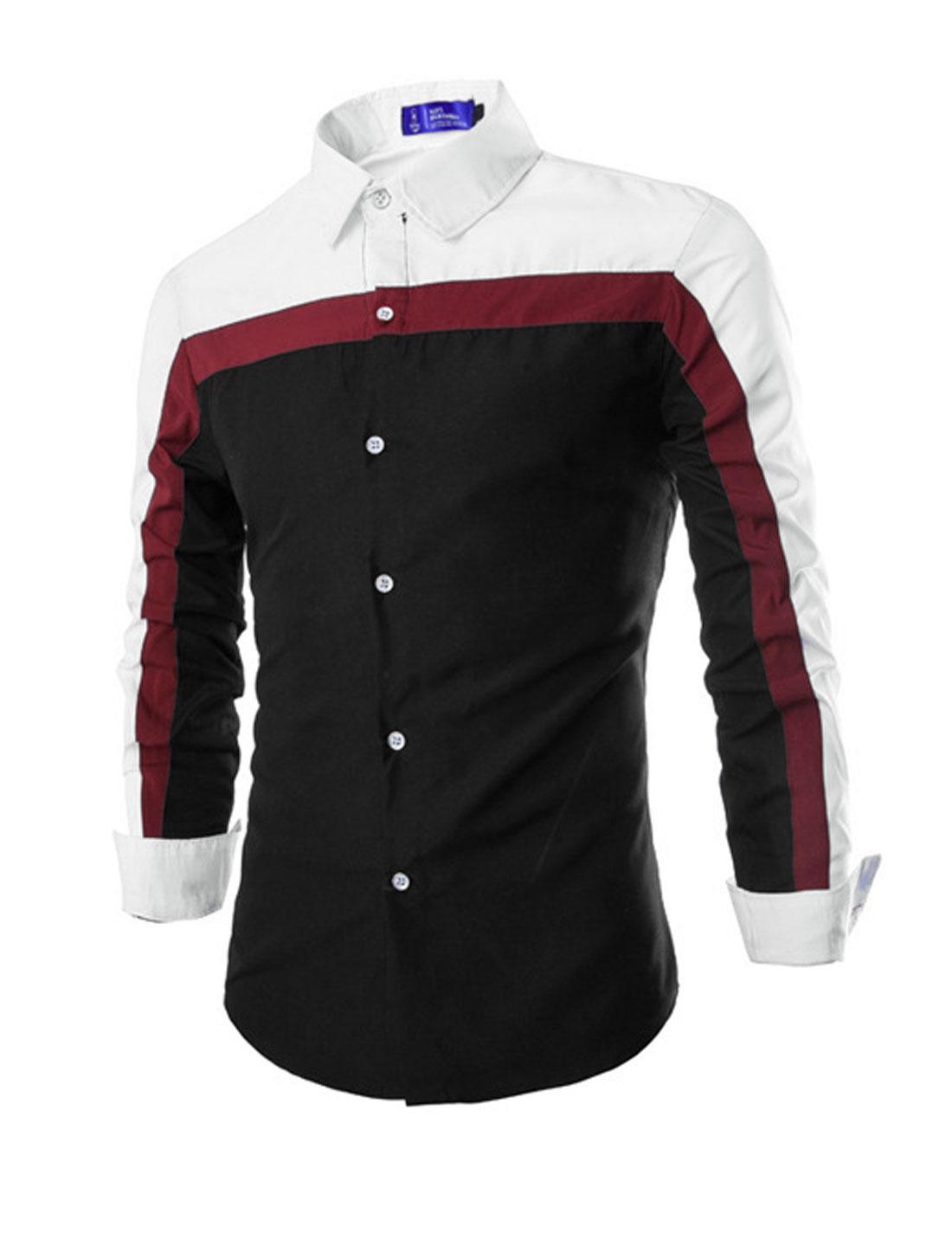 Men Point Collar Long Sleeve Button Down Slim Fit Shirt Black M