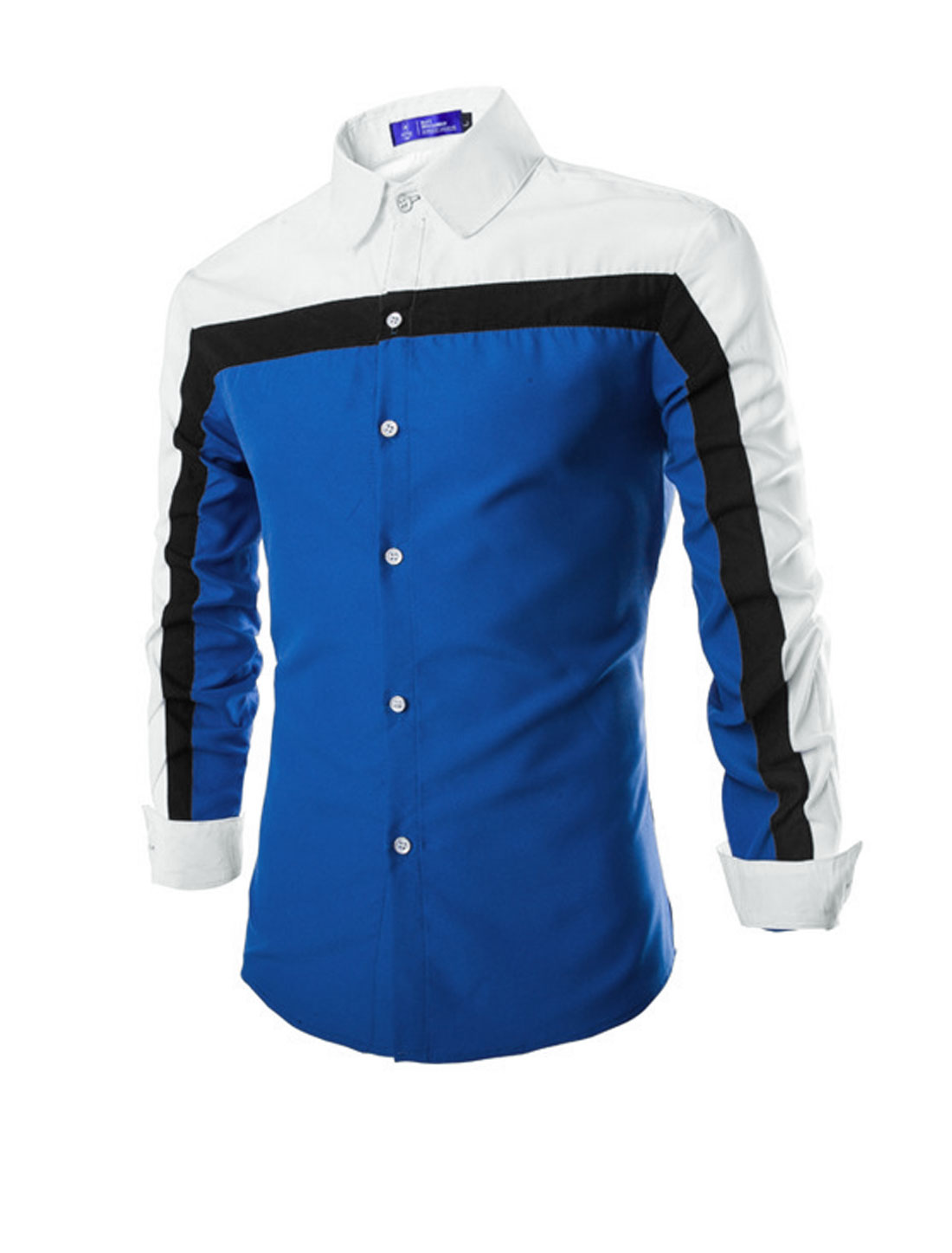 Men Point Collar Long Sleeve Color Block Slim Fit Shirts Royal Blue M