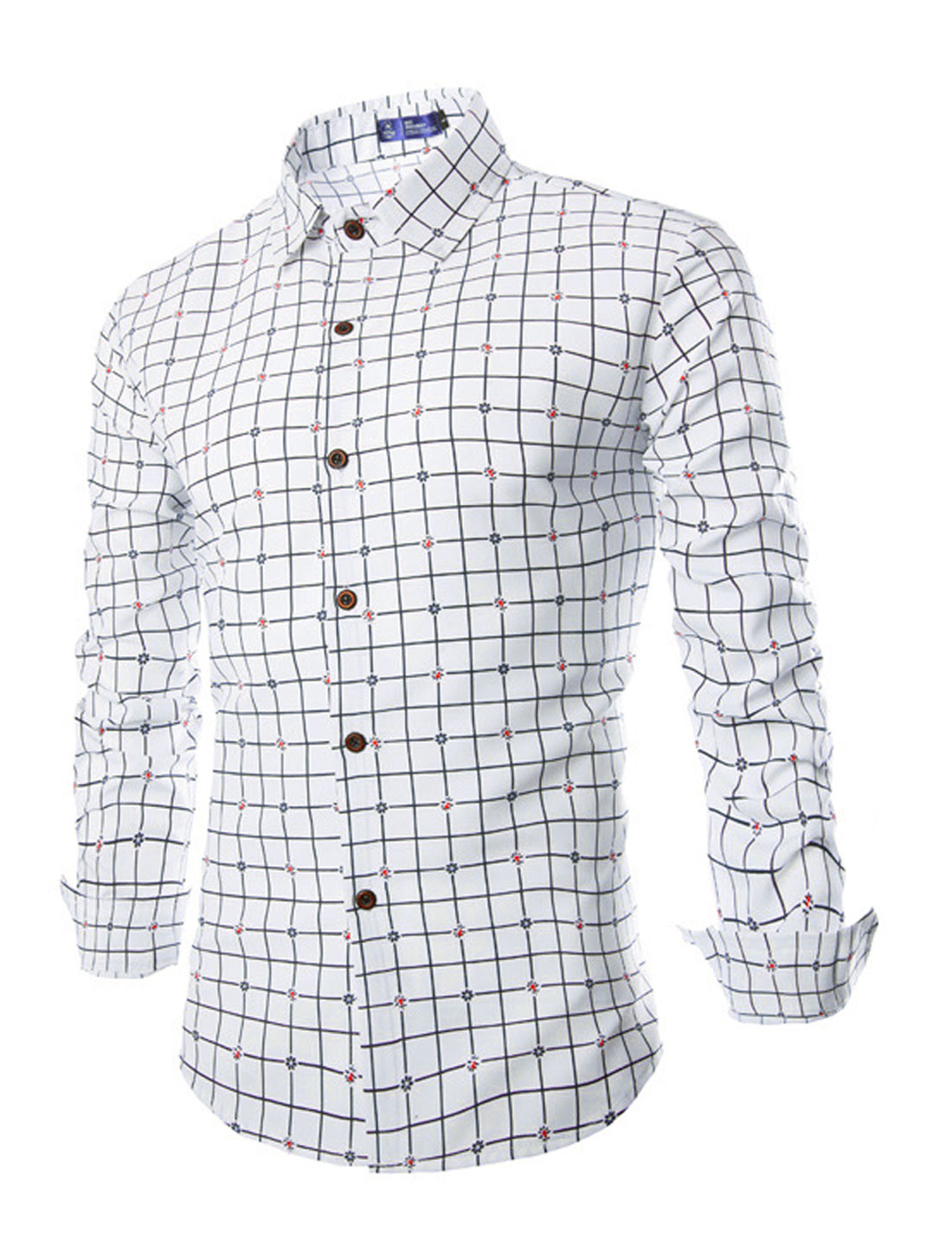 Men Point Collar Checks Floral Prints Casual Shirts White M