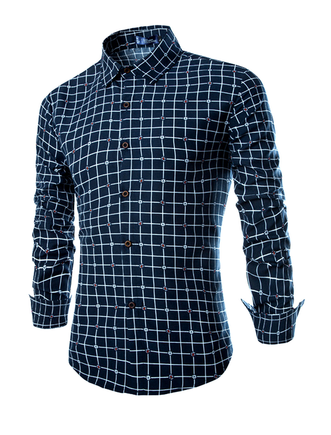 Man Point Collar Long Sleeves Checks Button Down Shirts Navy Blue M