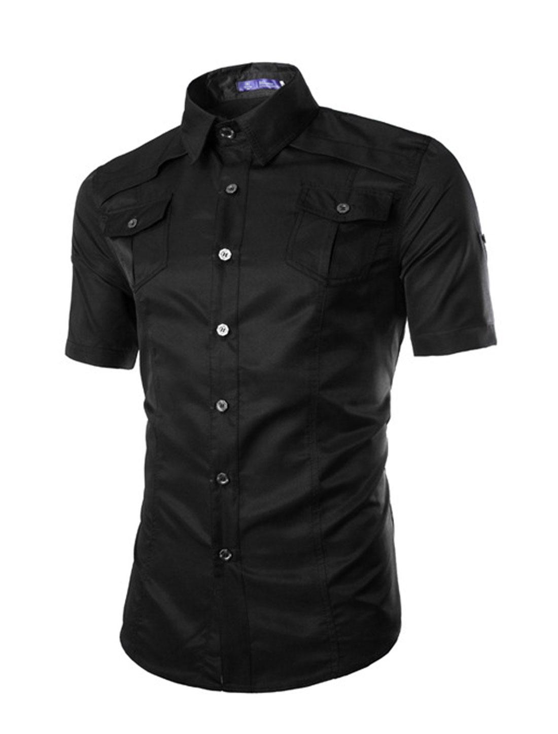 Men Point Collar Short Sleeves Flap Pockets Casual Shirts Black M