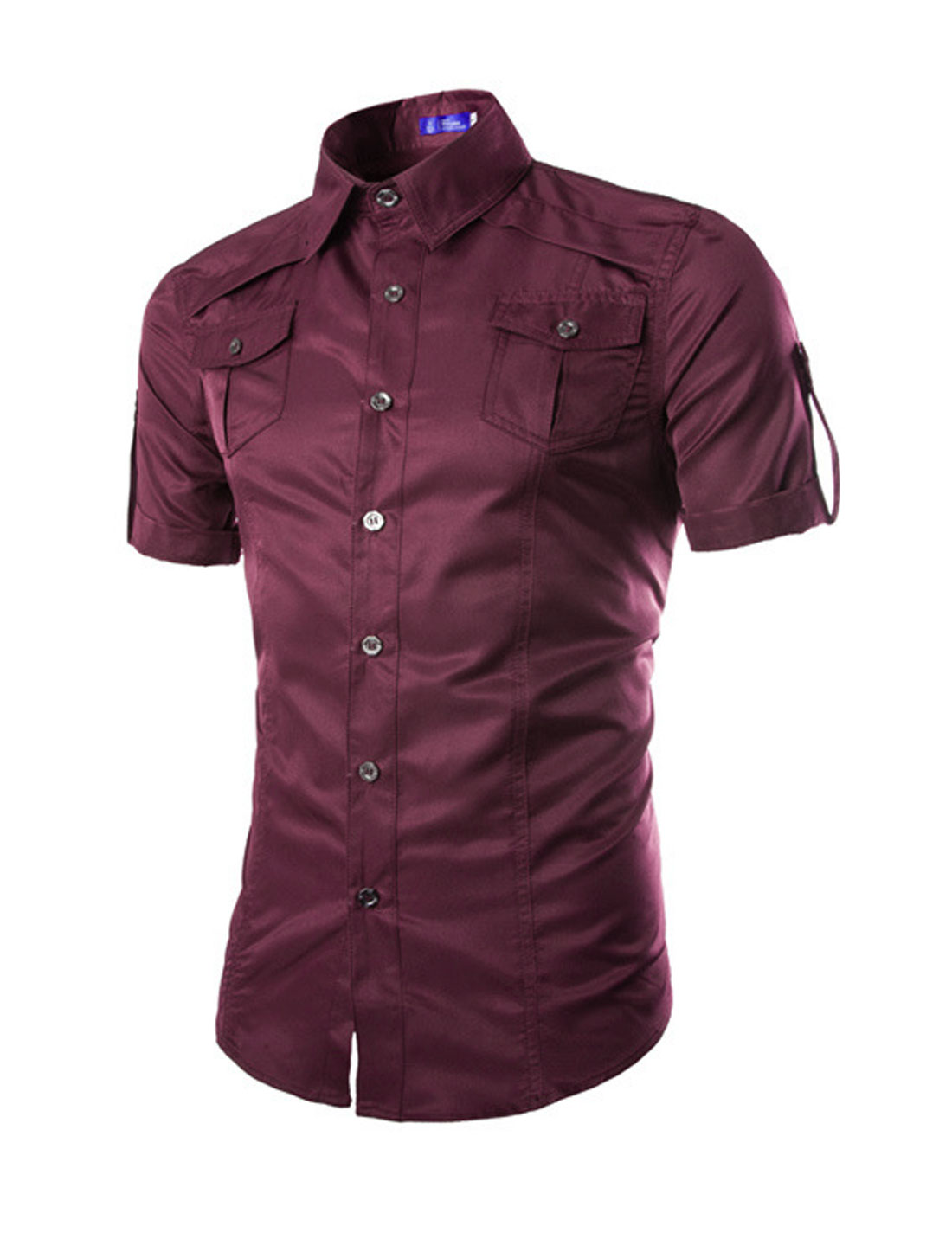 Men Point Collar Short Sleeves Button Closed Casual Shirts Burgundy M