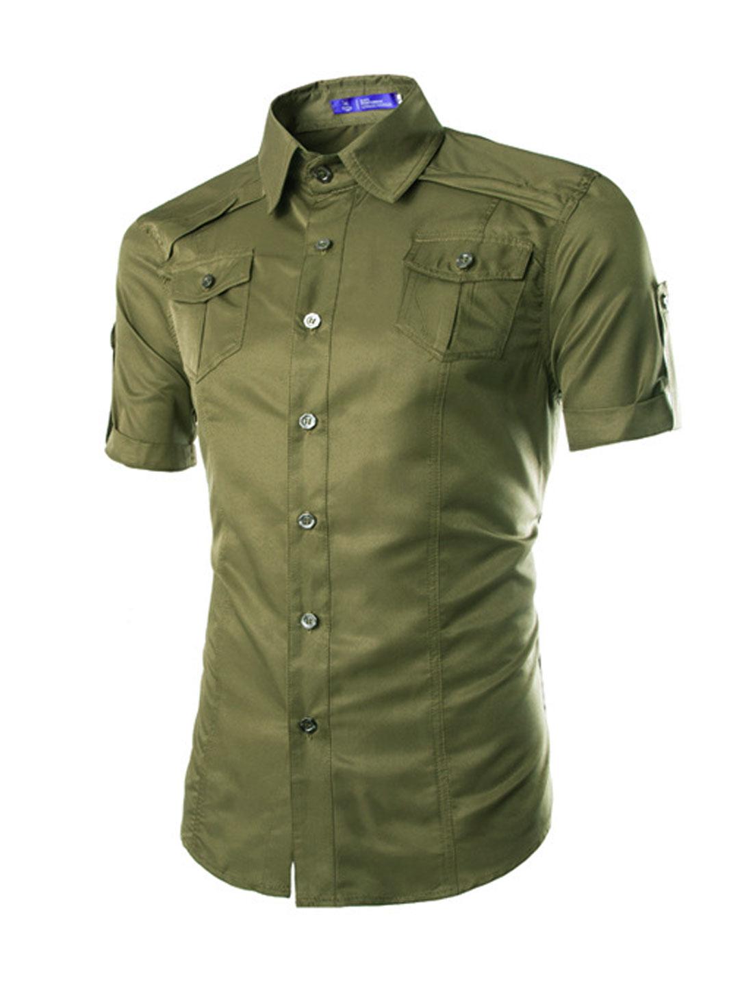 Men Point Collar Short Sleeves Round Hem Casual Shirts Army Green M