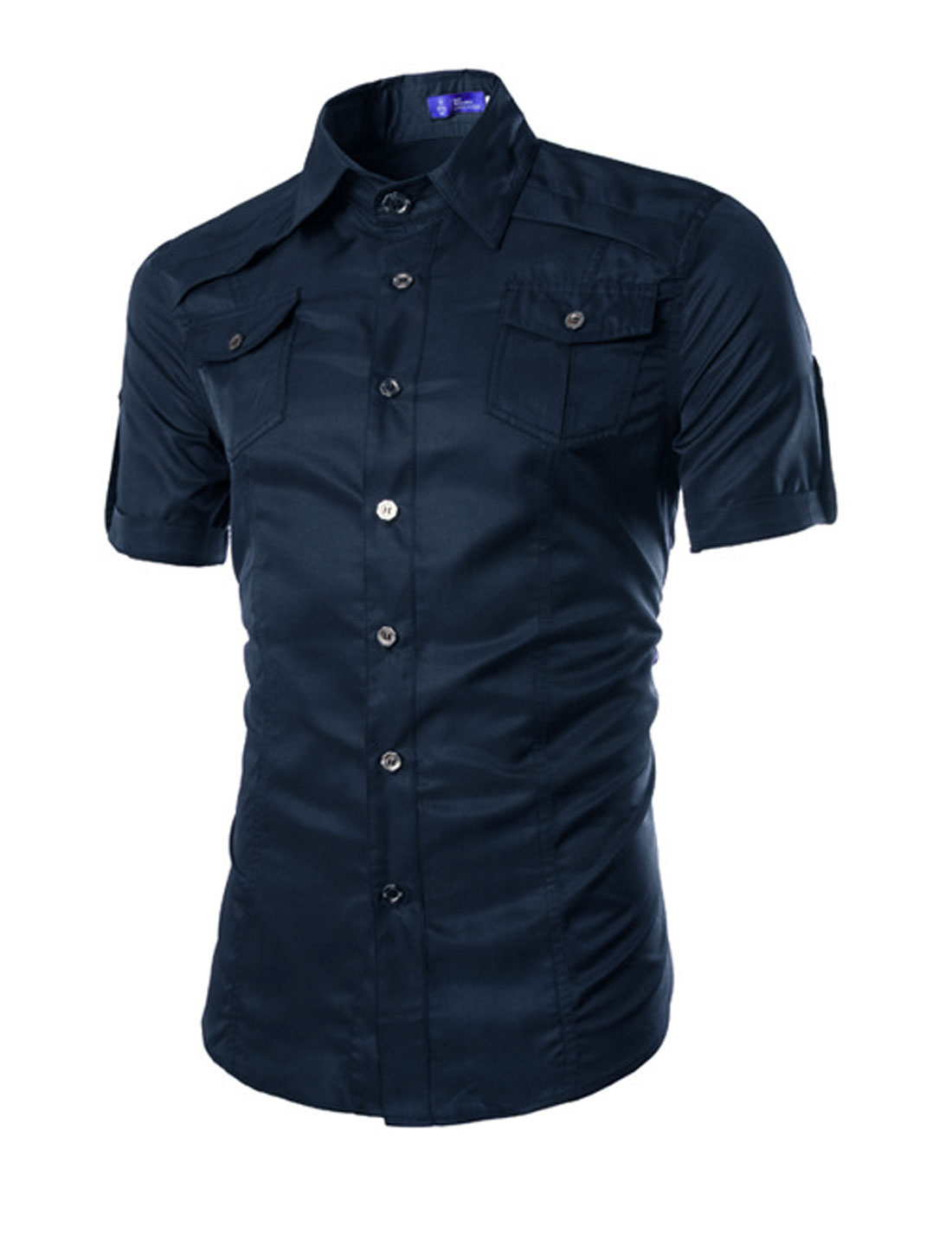 Man Short Sleeves Round Hem Button Down Shirts Navy Blue M