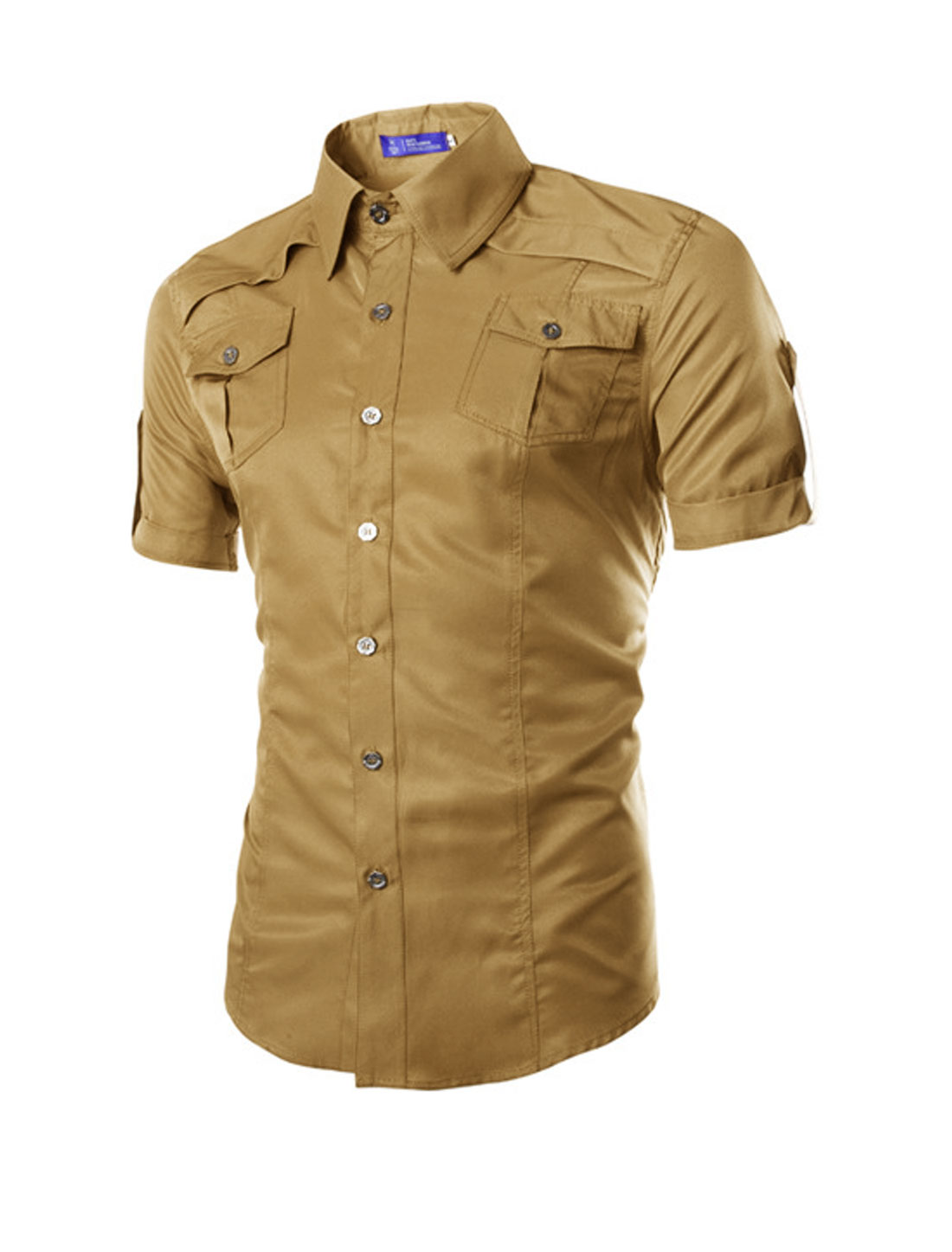 Man Short Sleeves Flap Pockets Button Down Shirts Camel M