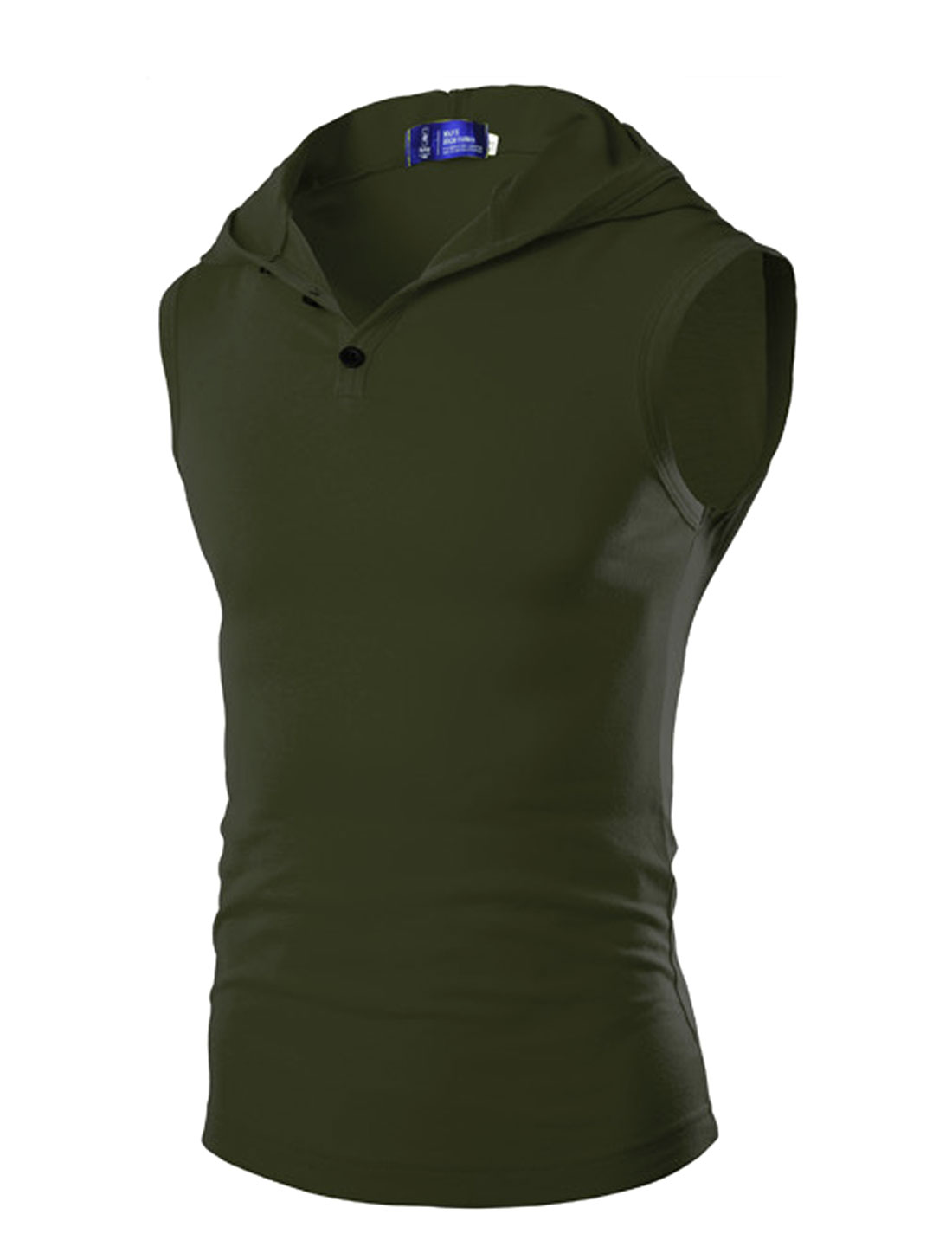 Men Hooded Sleeveless Casual Tops Army Green S