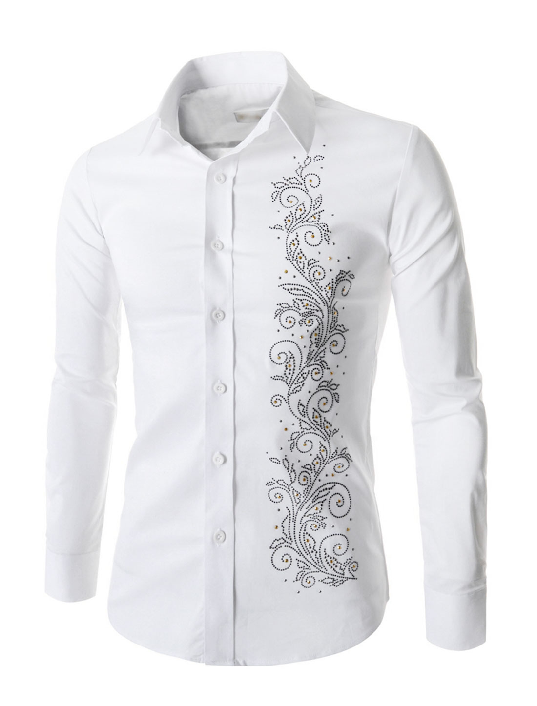 Man Point Collar Long Sleeves Flower Beaded Casual Shirts White M