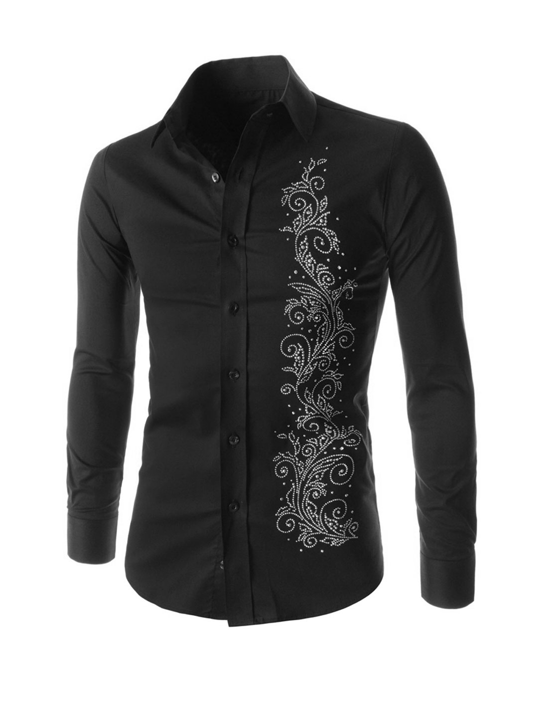 Men Long Sleeves Button Closed Flower Beaded Casual Shirts Black M