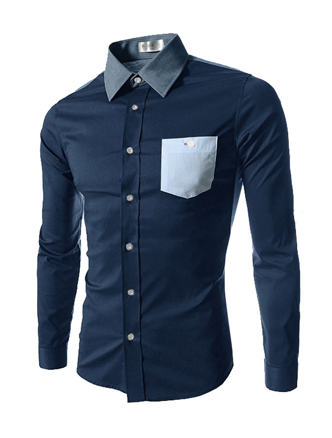 Men Long Sleeves Stripes Button Down Shirts Navy Blue M