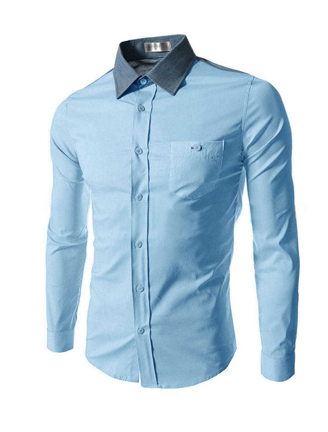 Man Point Collar Long Sleeves Striped Casual Shirts Light Blue M