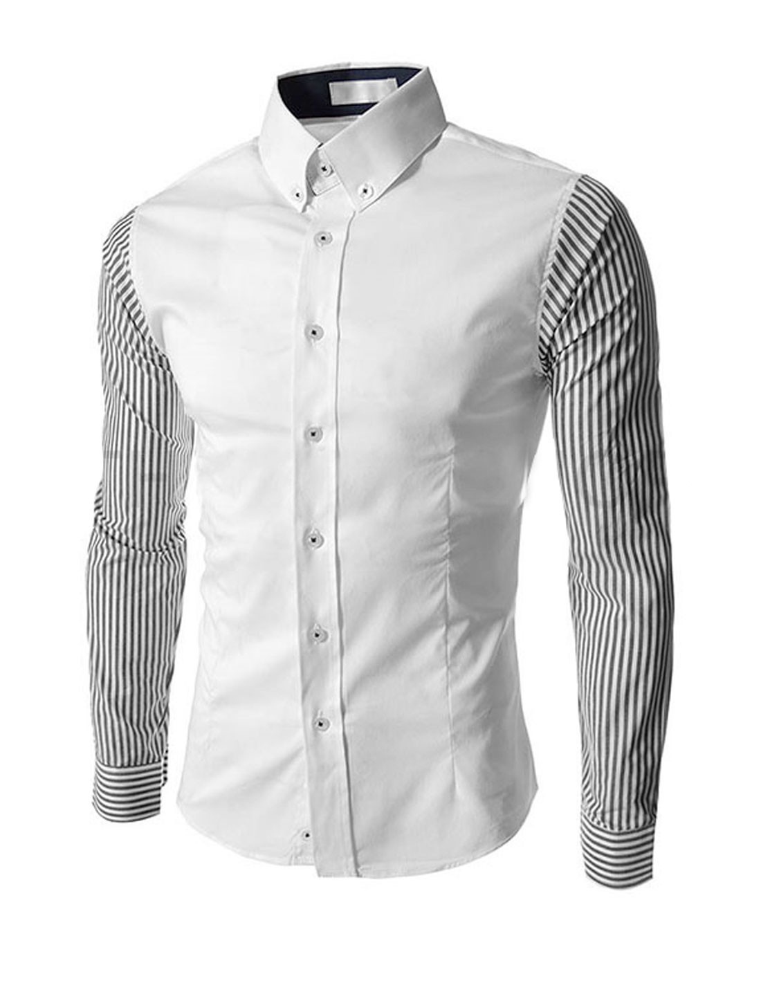 Men Point Collar Long Sleeves Stripes Casual Shirts White M