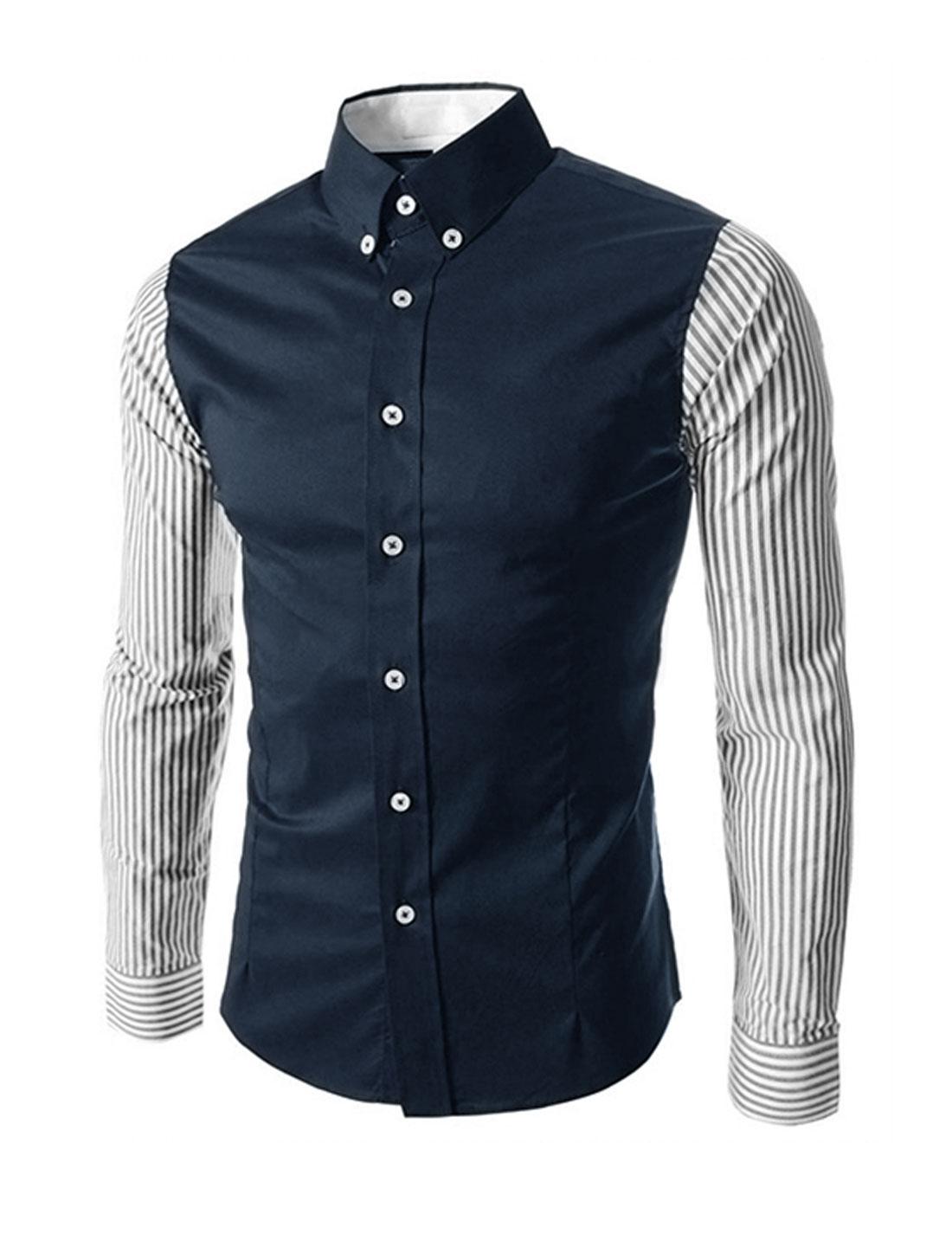 Man Point Collar Long Sleeves Stripes Button Down Shirts Navy Blue M