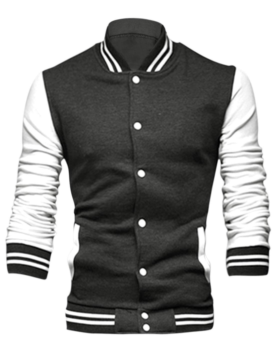 Men Long Sleeve Stand Collar Button Down Slim Fit Leisure Jacket Dark Gray S