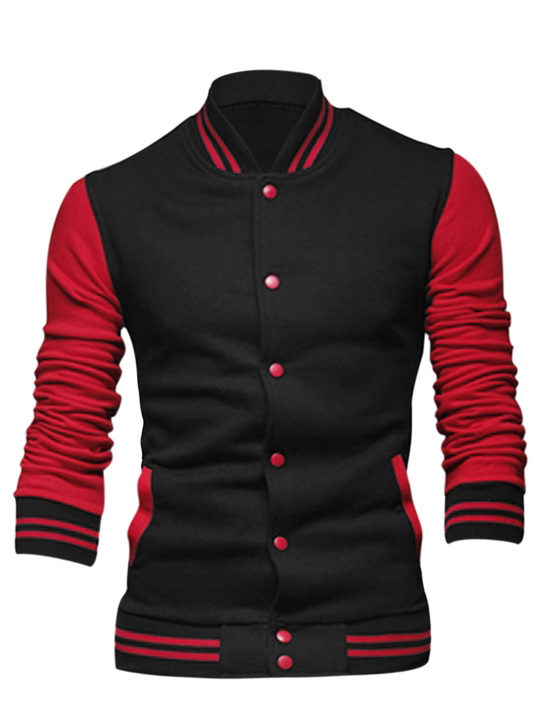 Men Long Sleeve Stand Collar Button Down Contrast Color Jacket Black S