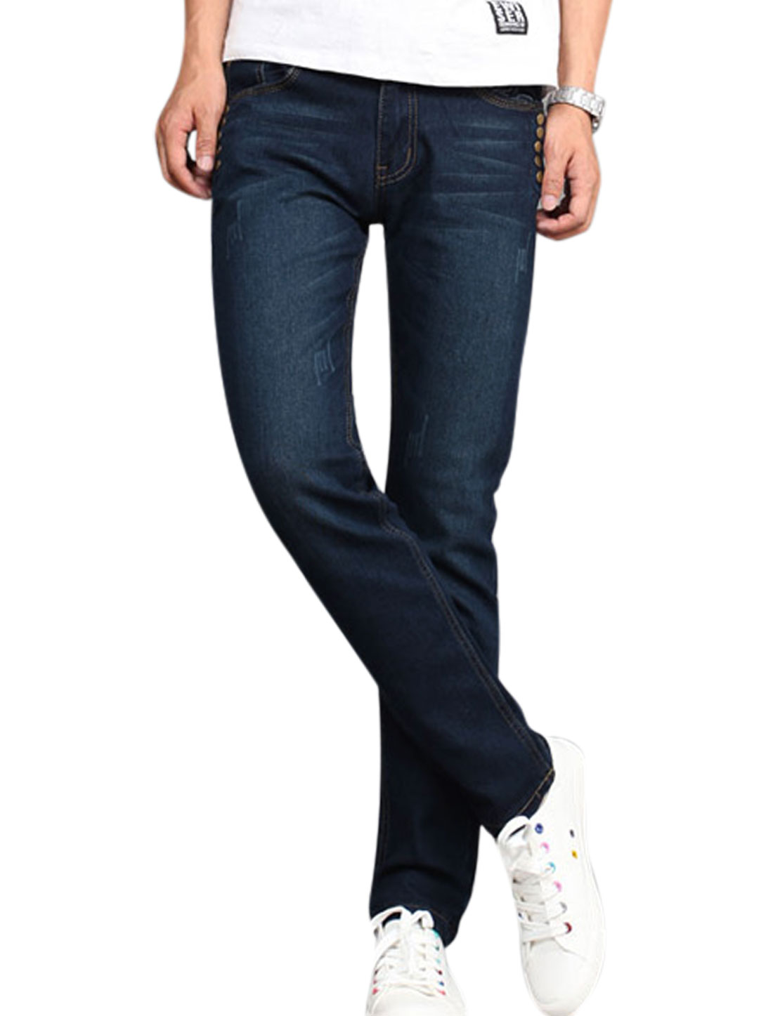 Man Studs Decor Mid Rise Five Pockets Zip Fly Casual Jeans Dark Blue W30