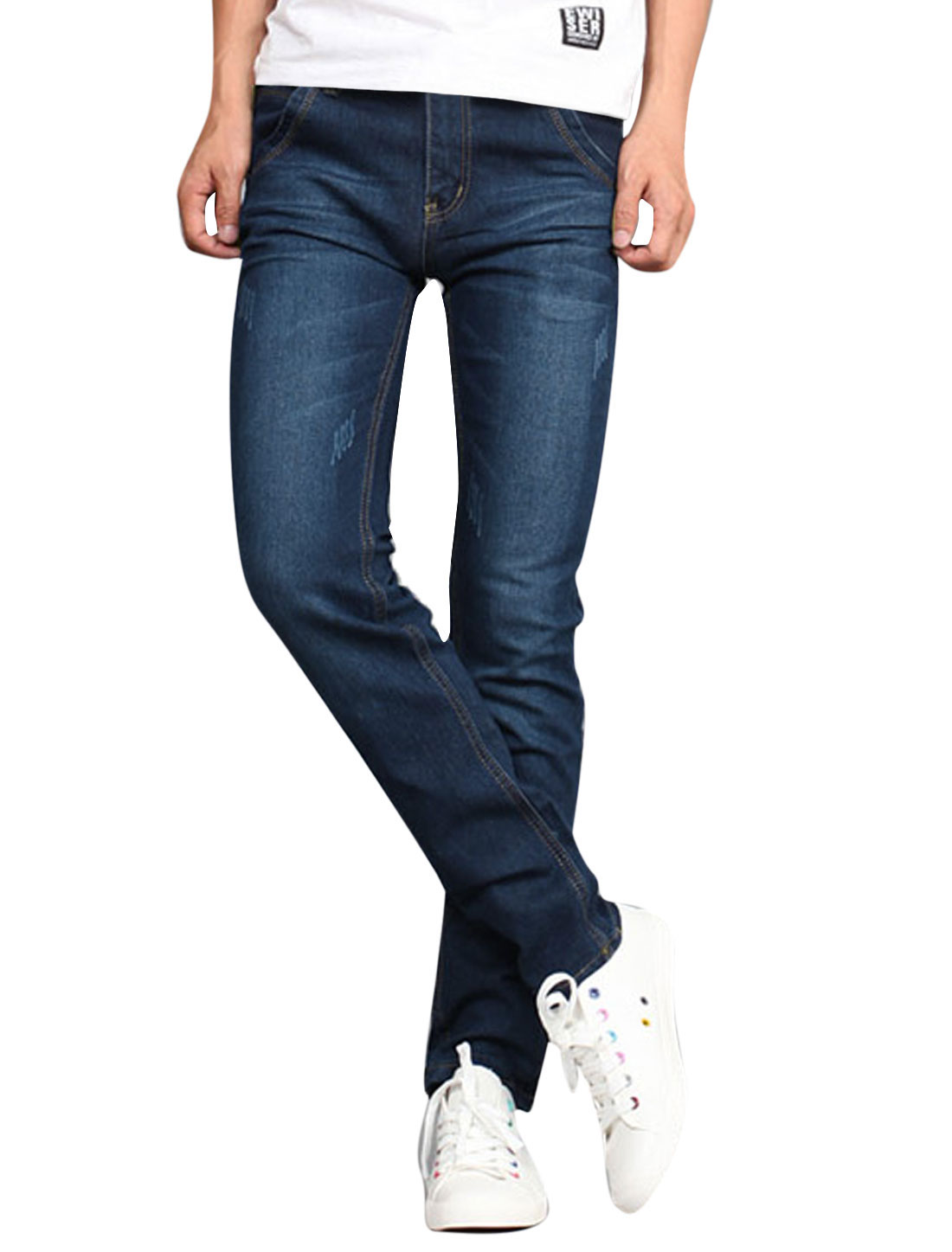 Men Zip Fly Button Closure Pockets Leisure Tapered Jeans Navy Blue W32