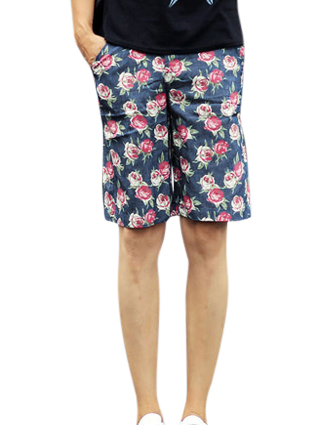 Man Floral Prints Mid Rise Zip Fly Button Fastening Casual Shorts Dark Blue W30