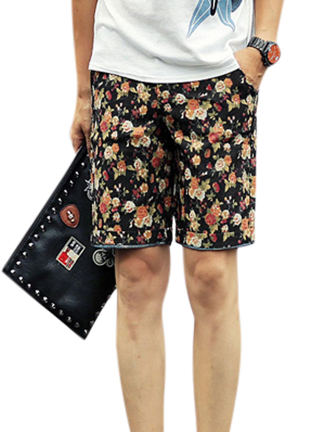 Men Floral Prints Mid Rise Zip Fly Button Closure Leisure Shorts Navy Blue W30