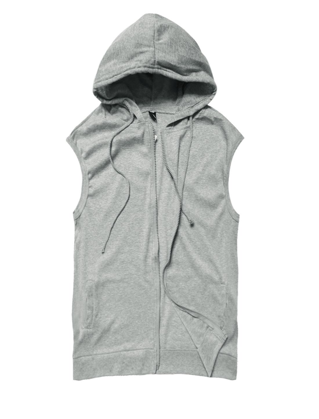 Men Hooded Sleeveless Zip Closure Drawstring Detail Casual Vests Light Gray S