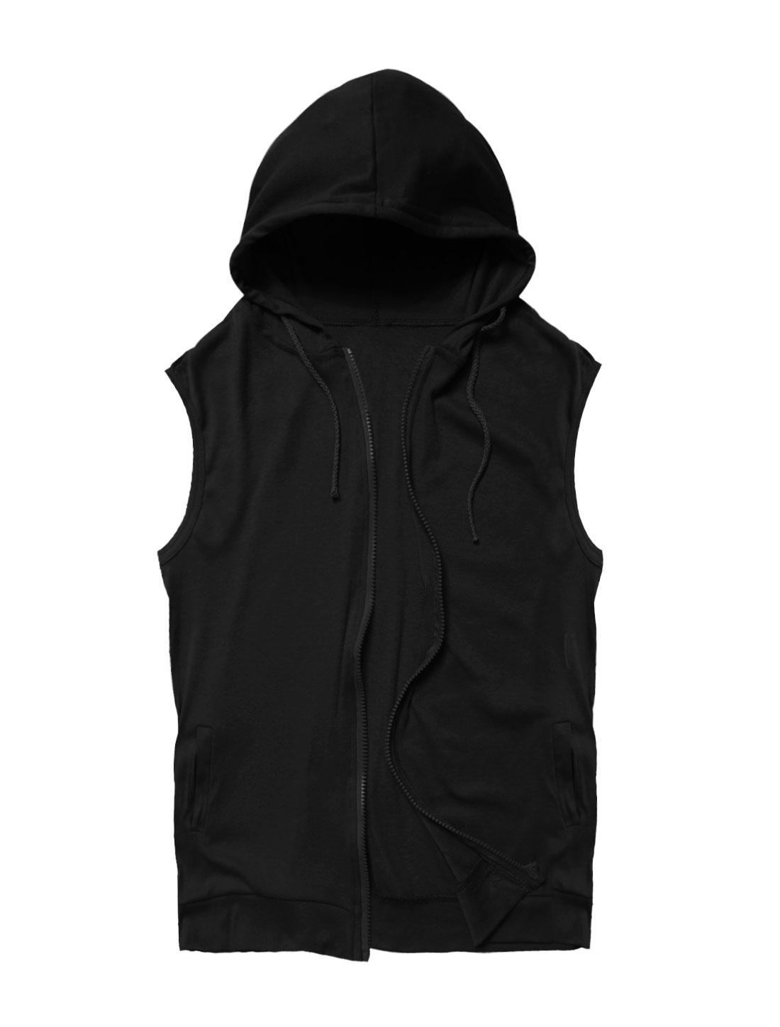 Men Hooded Sleeveless Zip Up Casual Vest Black S