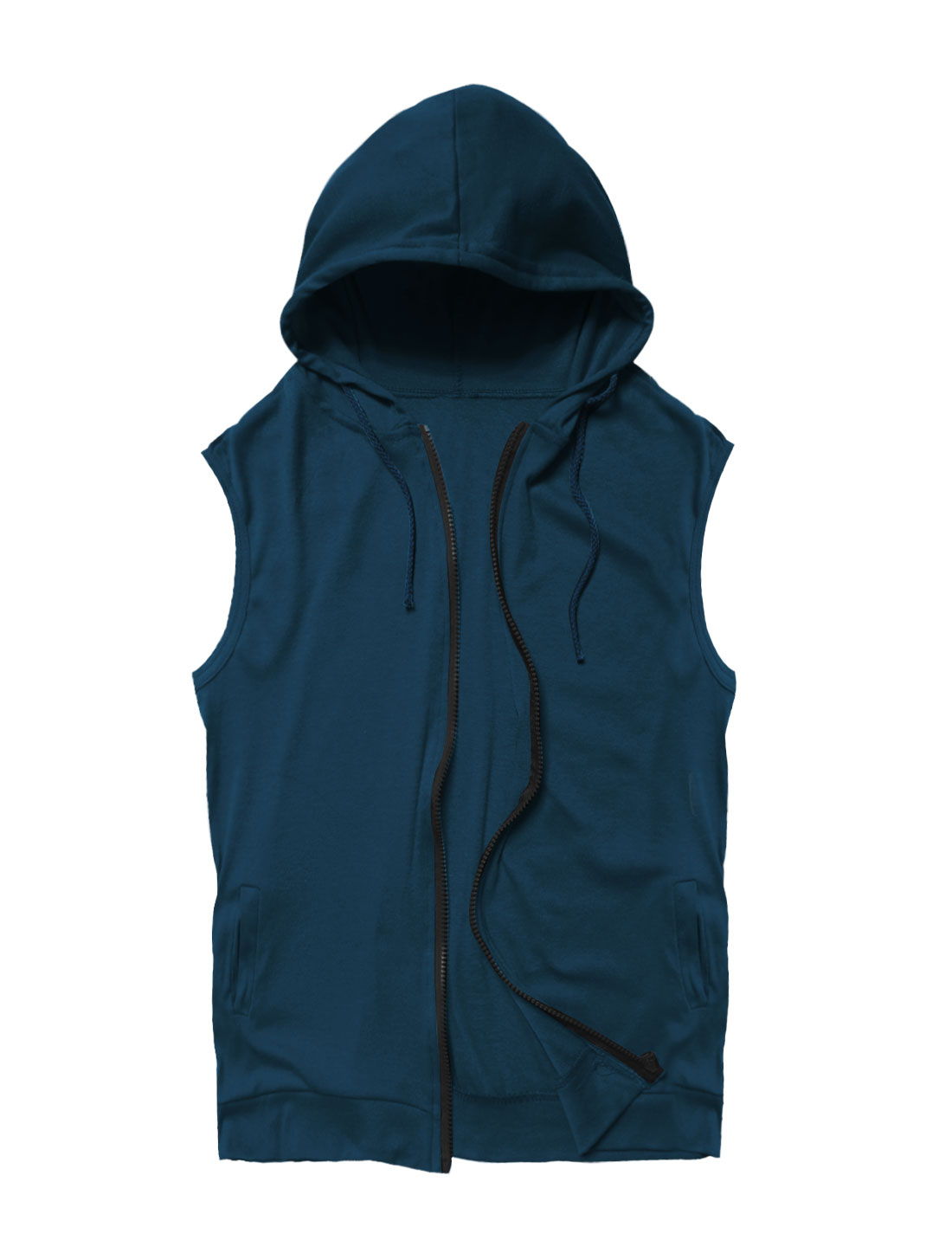 Man Hooded Sleeveless Double Pockets Casual Vests Navy Blue S