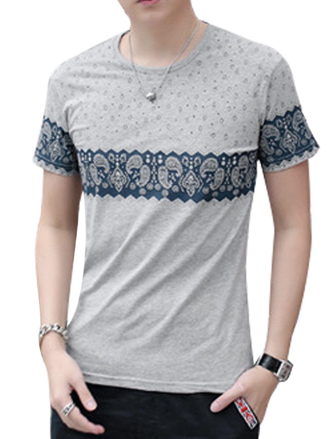 Men Short Sleeve Round Neck Paisleys Print Casual T-Shirt Light Gray S