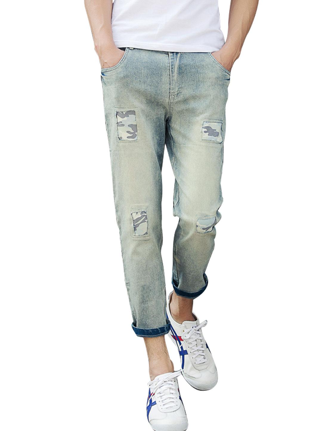 Men Mid Rise Comouflage Pattern Detail Cropped Jeans Light Blue S