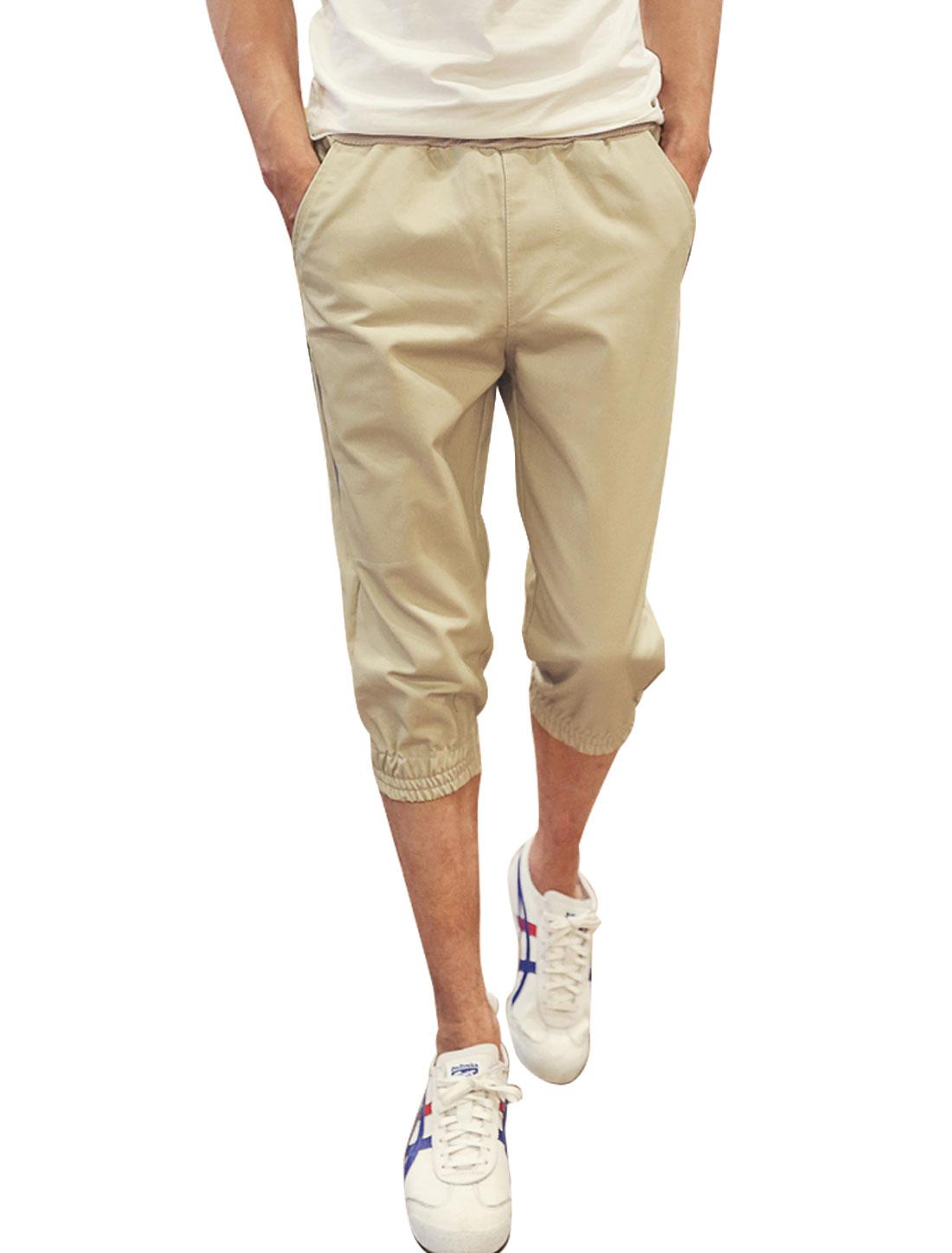 Men Elastic Waist Letters Embroidery Zip Pocket Capri Pants Khaki W30