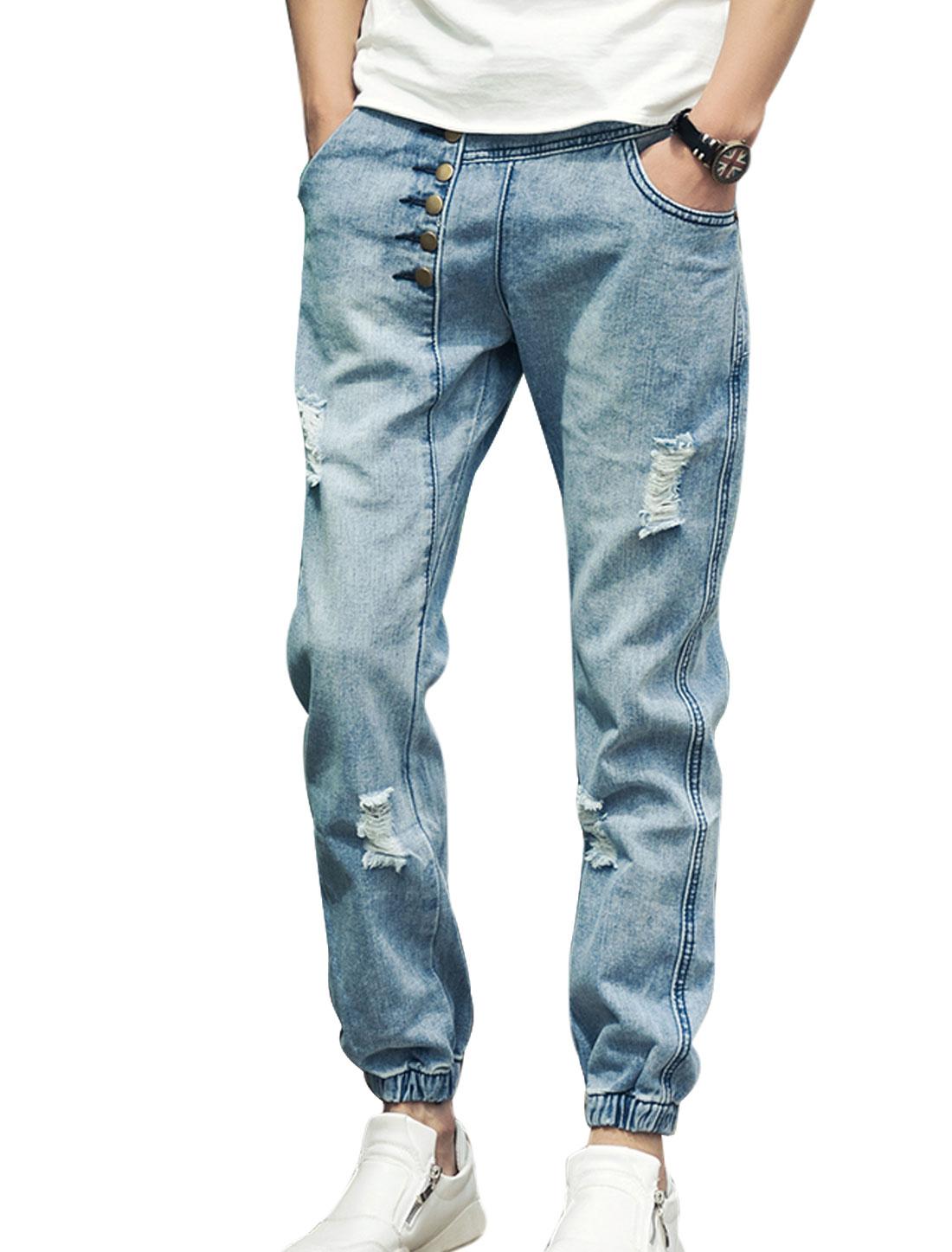 Men Elastic Waist Destroyed Design Buttons Decor Jeans Blue W30