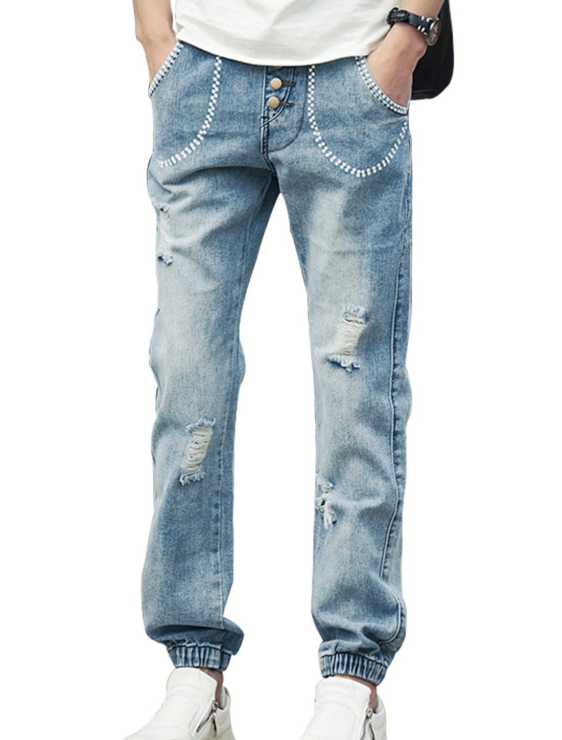 Men Elastic Waist Mid Rise Dots Prints Detail Casual Jeans Blue W30