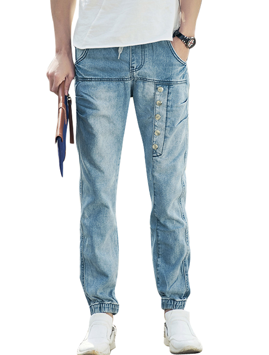 Men Drawstring Waist Mid Rise Destroyed Design Casual Jeans Blue W32