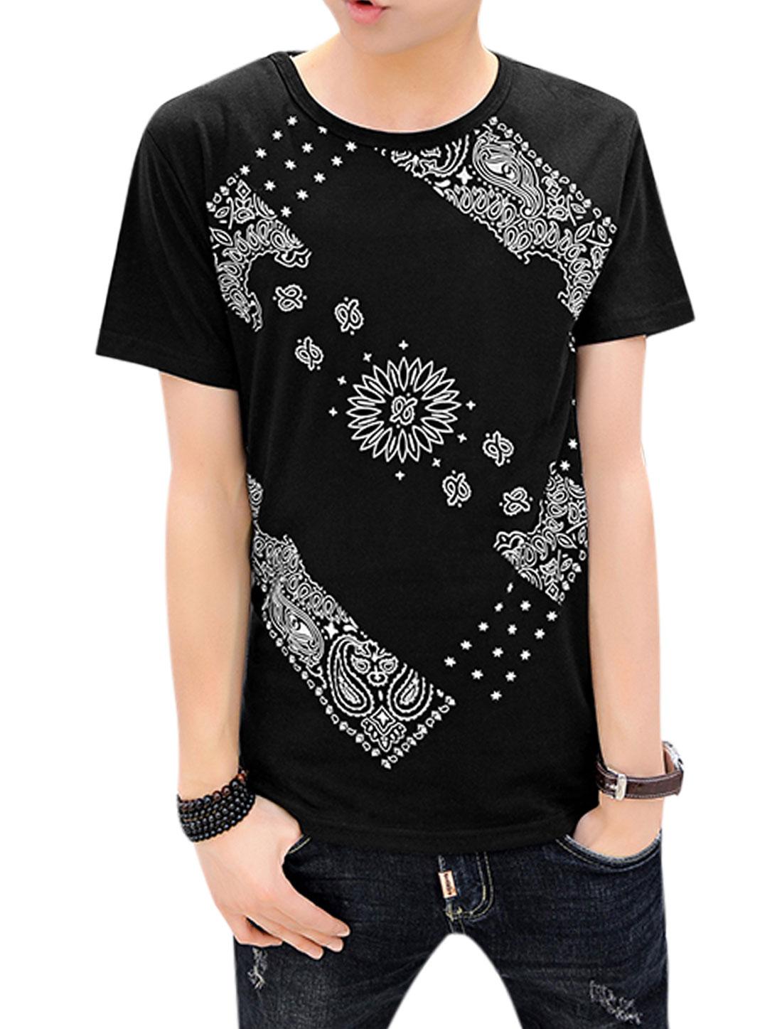 Men Short Sleeve Round Neck Stars Novelty Print Casual T-Shirt Black M