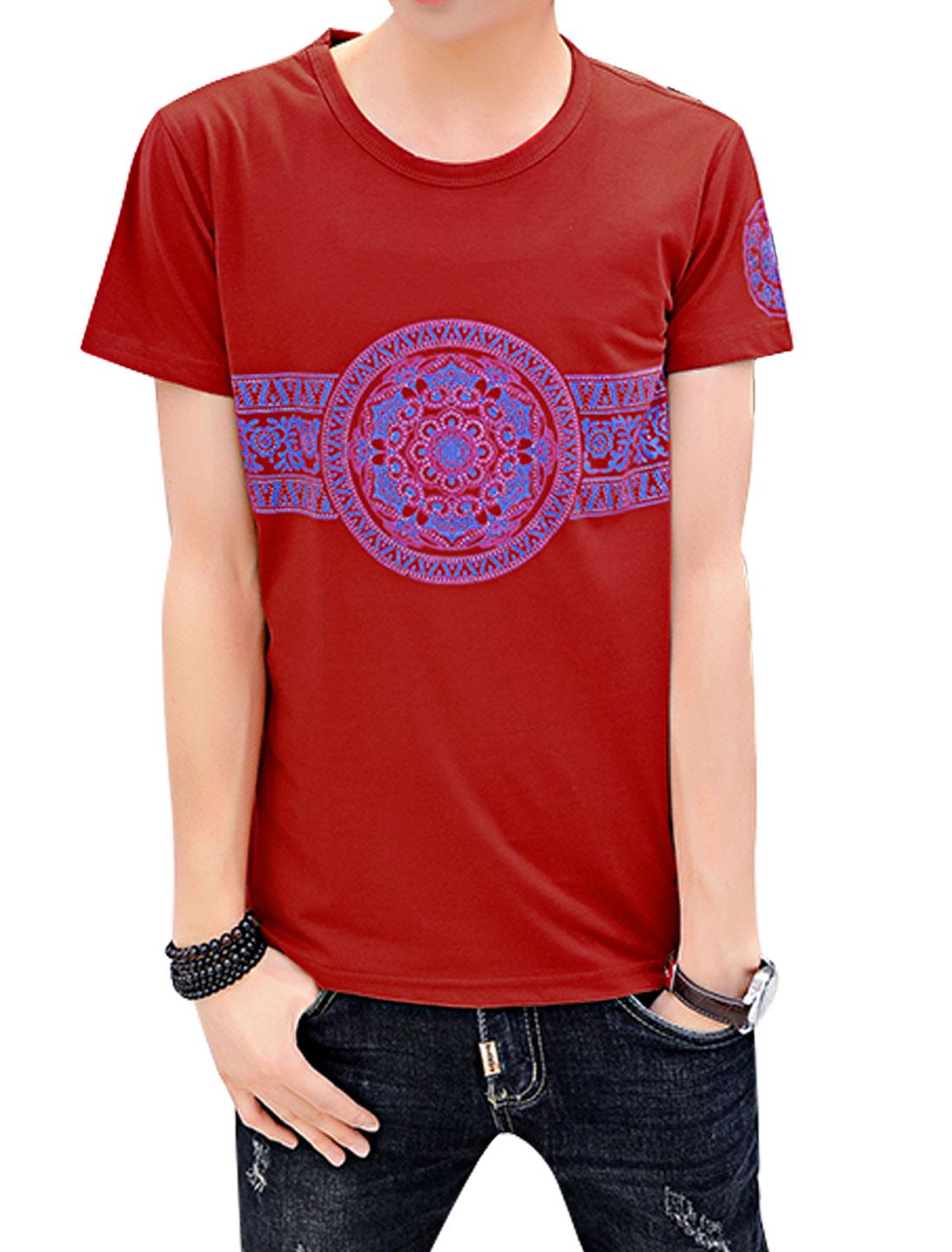Men Short Sleeve Round Neck Geometric Print Leisure T-Shirts Red M