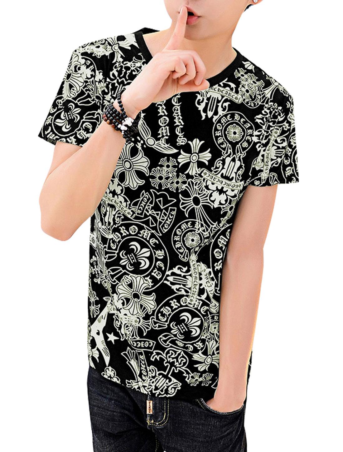 Men Short Sleeve Round Neck Novelty Print Leisure Summer T-Shirt Black M