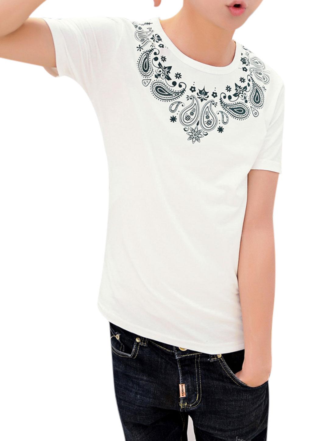 Men Short Sleeve Round Neck Paisleys Print Casual T-Shirt White M