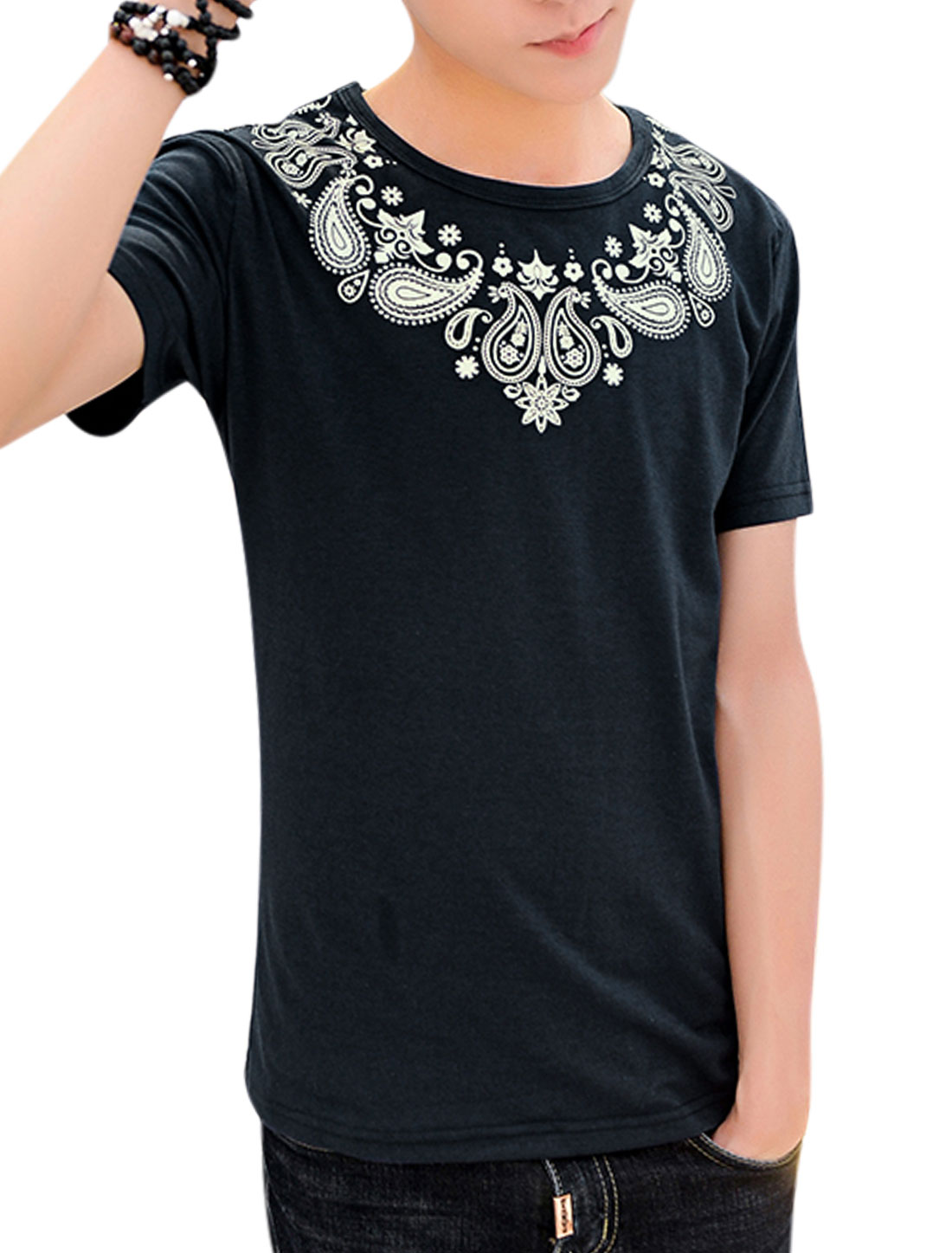 Men Short Sleeve Round Neck Novelty Print Casual T-Shirts Navy Blue M