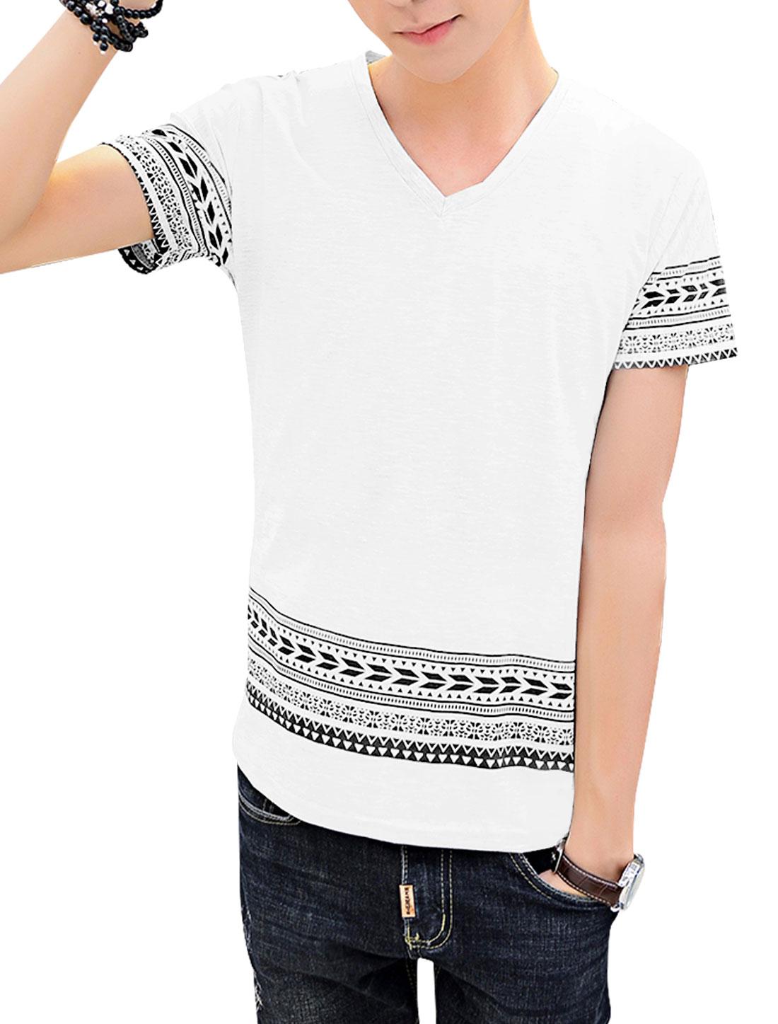 Man Geometrical Prints V Neck Short Sleeves Top White S