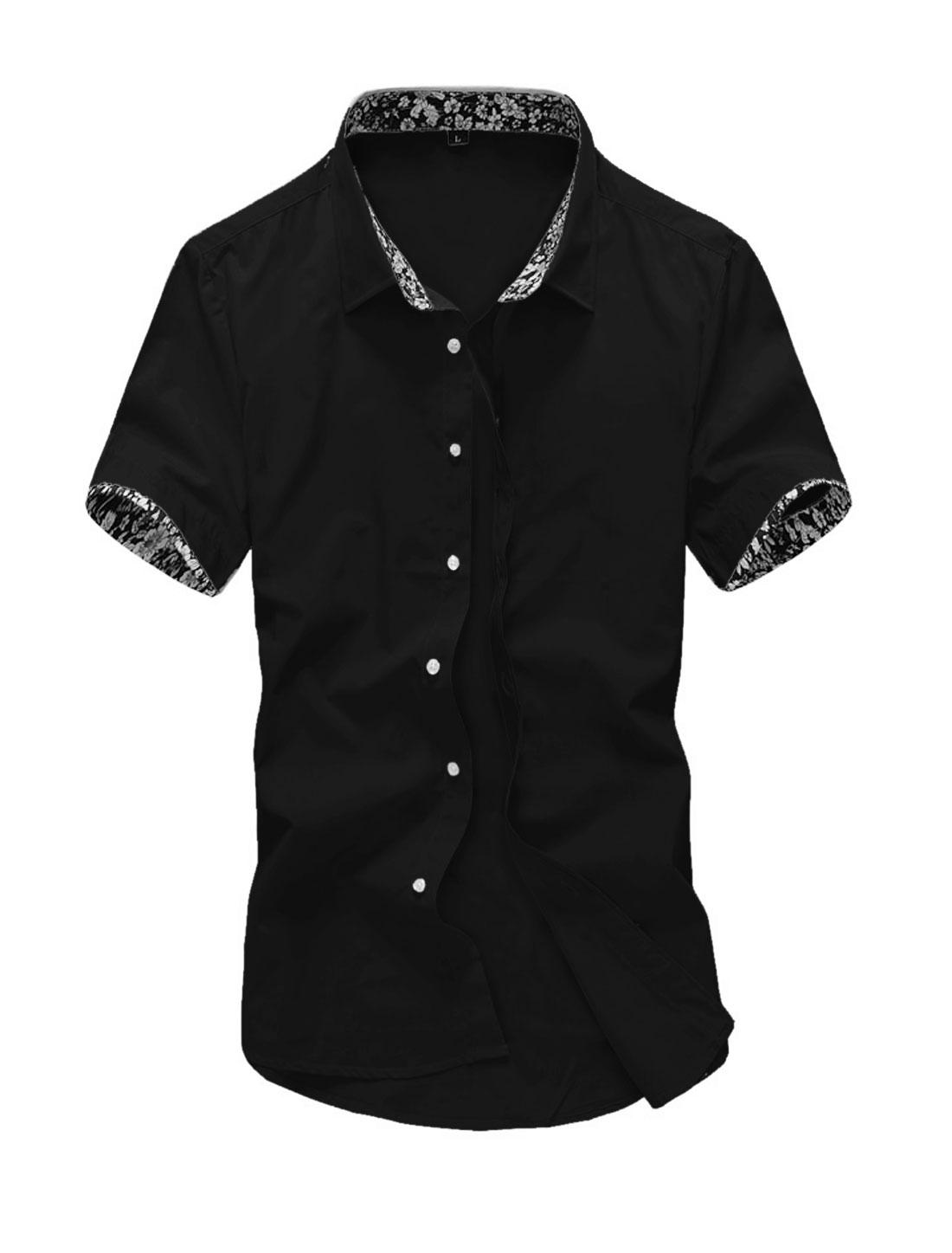 Men Short Sleeve Point Collar Button Down Slim Fit Shirts Black M