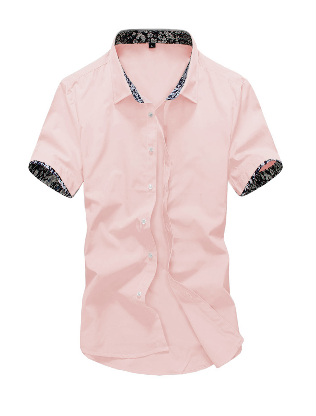 Men Short Sleeve Point Collar Button Down Slim Fit Casual Shirt Pink M