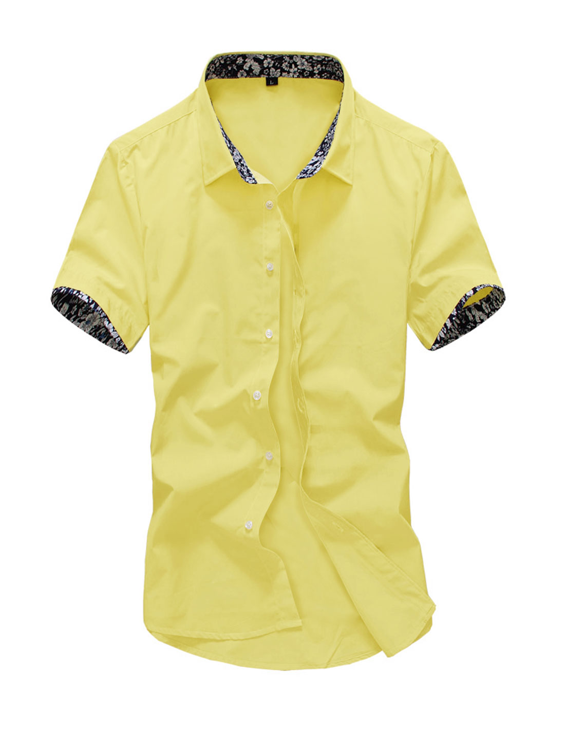 Men Short Sleeve Button Down Slim Fit Leisure Shirts Yellow M