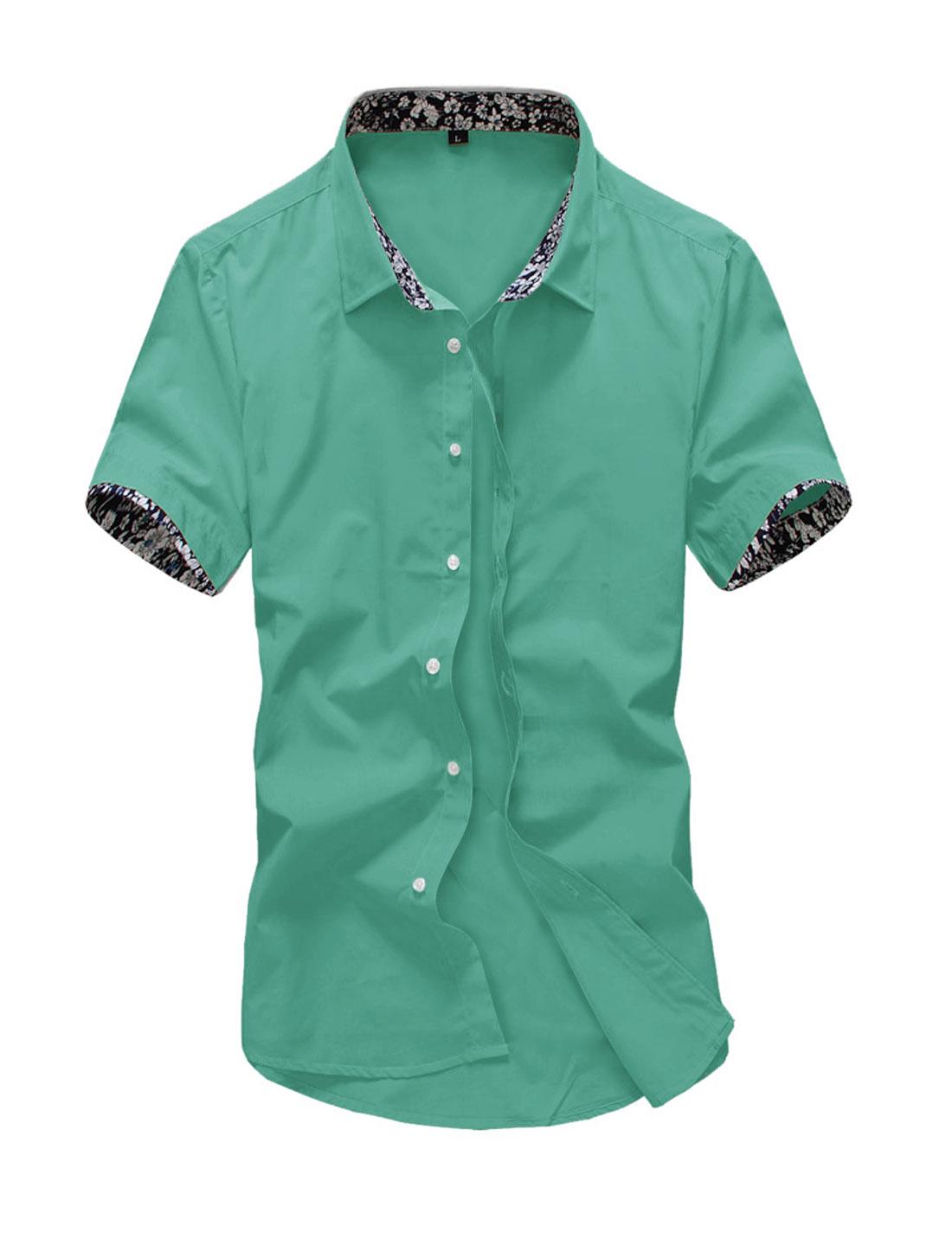 Men Point Collar Button Down Slim Fit Summer Shirts Dark Mint M