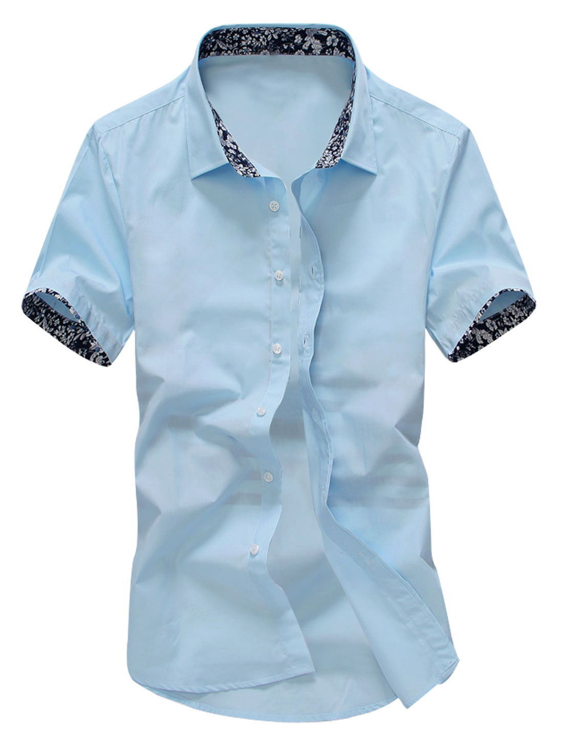 Men Short Sleeve Point Collar Slim Fit Casual Shirt Sky Blue M