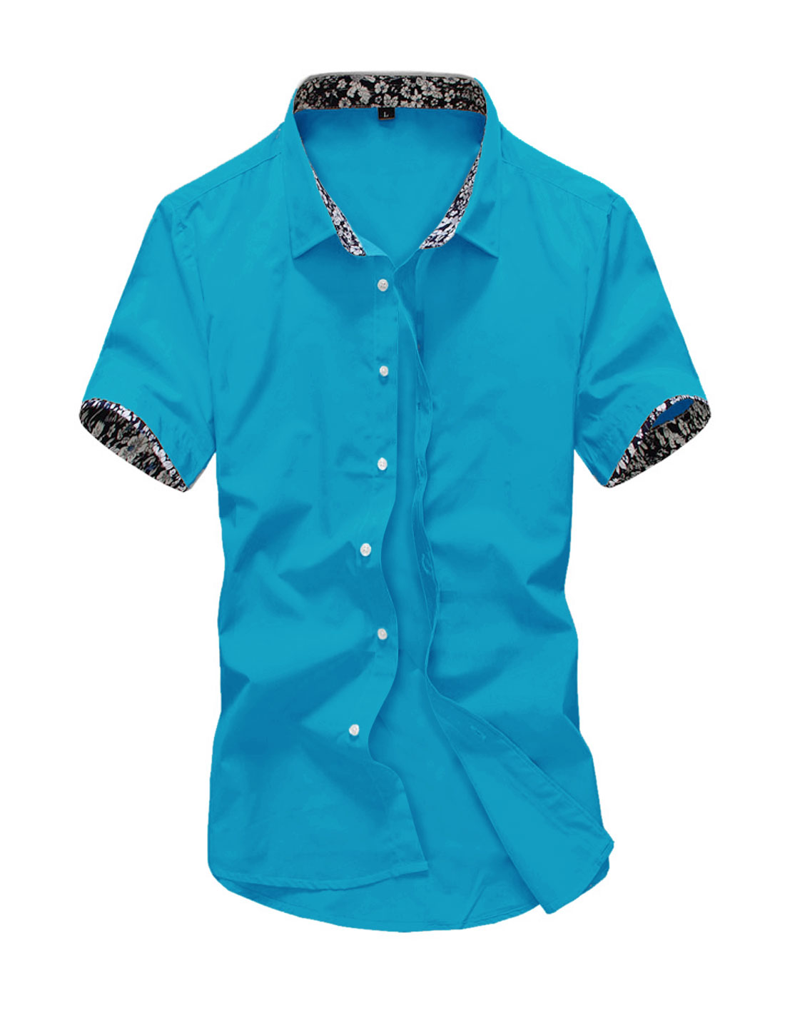 Men Short Sleeve Point Collar Button Down Summer Casual Shirts Turquoise M