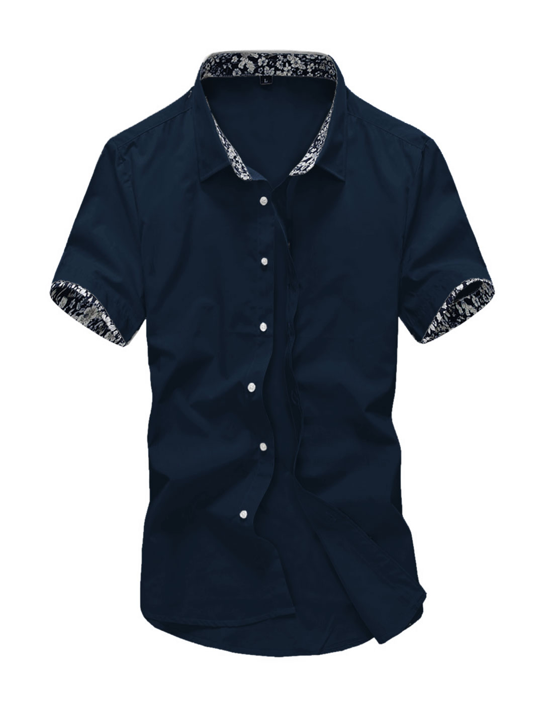 Men Short Sleeve Point Collar Button Down Cozy Fit Summer Shirts Navy Blue M