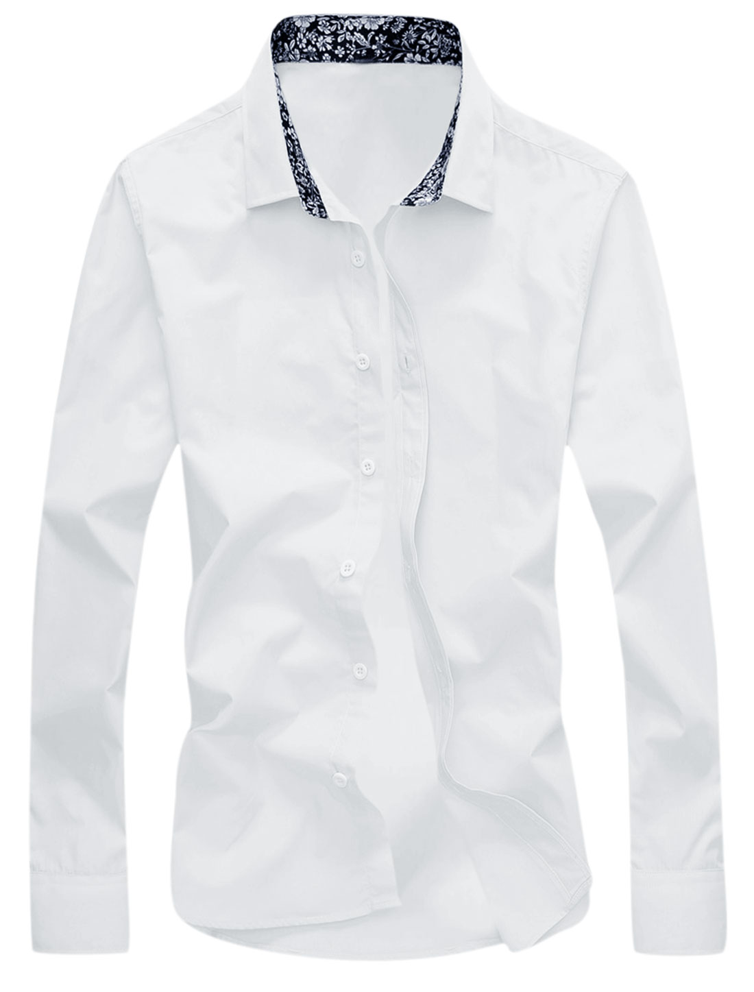 Men Point Collar Long Sleeves Button Closure Casual Shirt White M