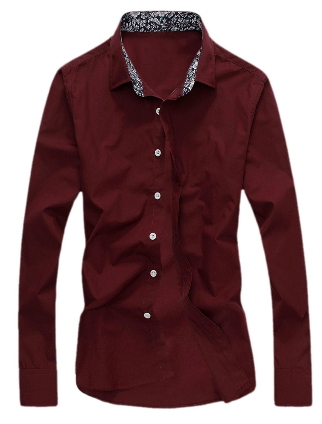 Men Long Sleeves Round Hem Casual Shirts Burgundy M
